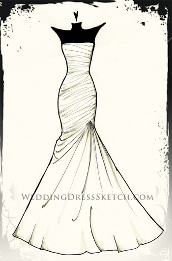 Wedding dress sketch custom fashion illustration of your for How to draw a wedding dress