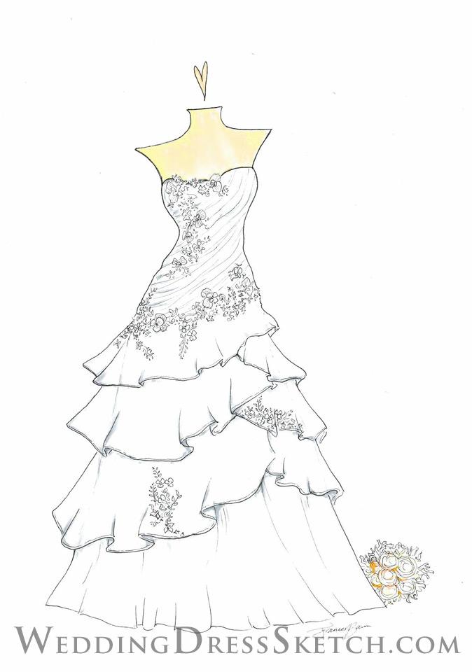 Ordering Form   Wedding Dress Sketch - Custom Fashion Illustration ...