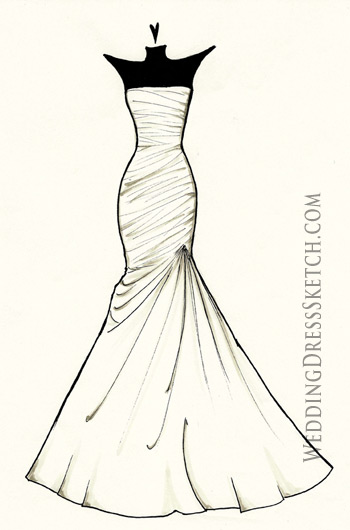 Simple Elegance Wedding Dress Sketch Custom Fashion Illustration Of Your Bridal Gown